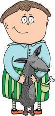 Illustration - A boy with a dog