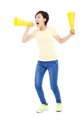 young student girl holding megaphone over white background