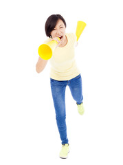 happy student girl holding megaphone over white background