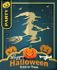 Vintage Halloween poster design with witch