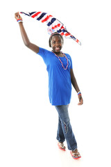Scarf-Waving Tween Patriot