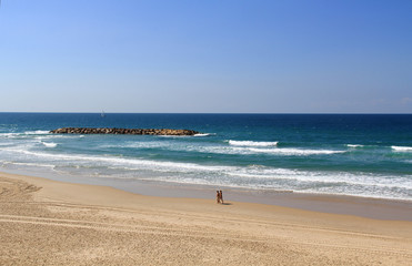 Couple Walking on the Beach Beside the Mediterranean Sea
