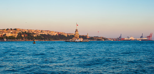 Panorama of the beautiful city Istanbul in sunset on Bosphorus