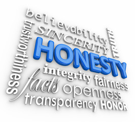 Honesty Sincerity 3d Word Collage Reputation Integrity Virtues