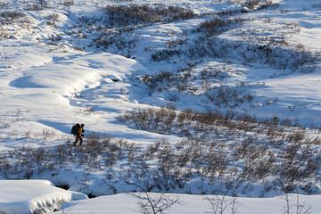 Ski touring in mountains