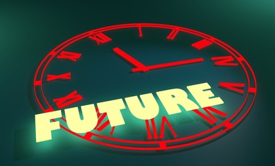 retro watch and neon shine text future