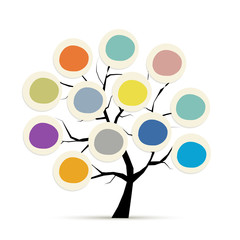 Abstract tree with circle frames for your design