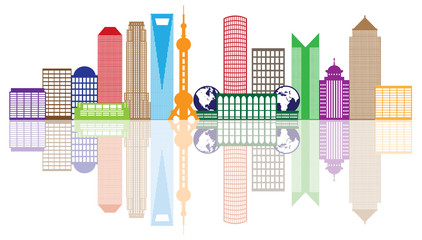 Shanghai City Skyline Color Outline Vector Illustration