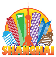 Shanghai City Skyline Color Circle Outline Vector Illustration