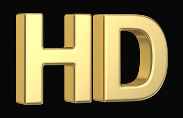 Golden 3D HD symbol isolated with clipping path