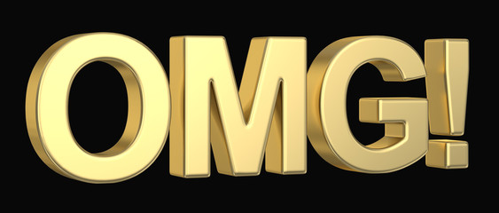 Golden OMG symbol isolated with clipping path