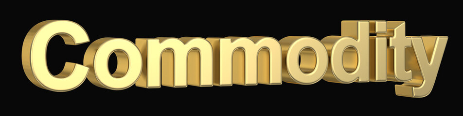 3D golden commodity text isolated  with clipping path