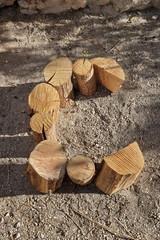 C, assemblage de buches sur le sol
