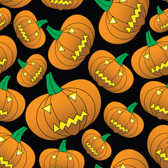 halloween carved pumpkin seamless pattern eps10