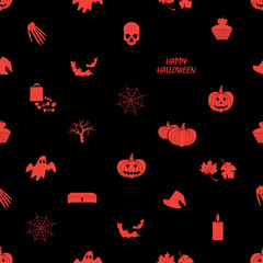 halloween icons dark seamless pattern eps10
