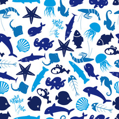 fish and sea life seamless pattern eps10
