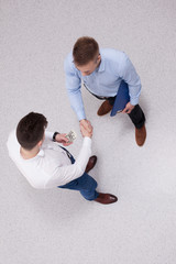 Overhead view of people having business meeting, isolated on