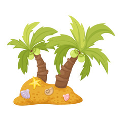 two coconut trees vector