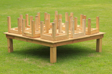 wooden table in park