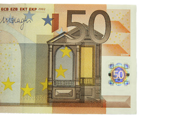 One of fifty euro banknote isolated on the white background