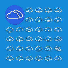 cloud computing with shadow icon set, vector eps10