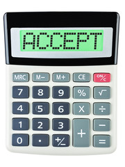 Calculator with ACCEPT on display isolated on white background