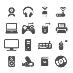 computer and accessory icon set, vector eps10