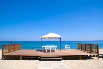 Wooden platform on the beach