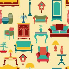 living furniture seamless pattern background - Illustration