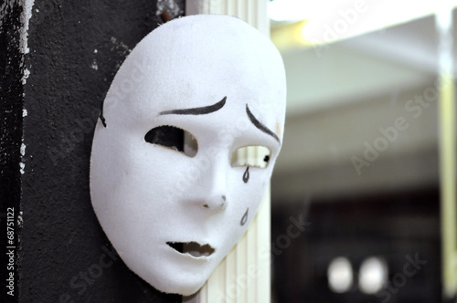 canvas print picture Theater Maske vor dem Spiegel - theatre mask at the mirrow