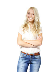 Beautiful blond young woman looking at camera and happy smiling.