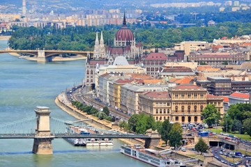 Budapest, Hungary - aerial view with Danube River