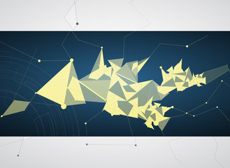 abstract black mesh triangle and gear technology banner
