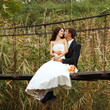 young wedding couple, beautiful bride with goom portrait on the