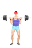 Determined guy lifting a heavy barbell poster
