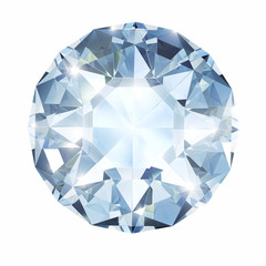 Big diamond on white isolated with clipping path