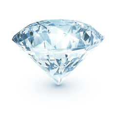 Shining diamond on white isolated with clipping path