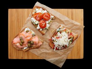 Three sandwiches on platter