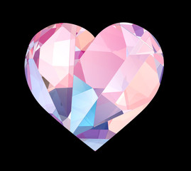 Luxury diamond heart isolated with clipping path.