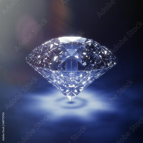 Luxury blue diamond background - with lensflare