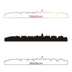 Madison skyline linear style with rainbow