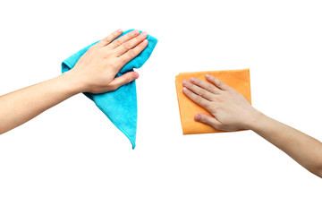 Hand with a rag to dust isolated in white.