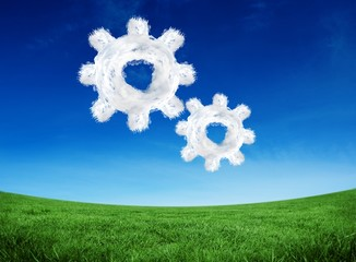 Composite image of cloud cog and wheel
