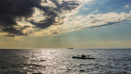 kayak in the italian sea