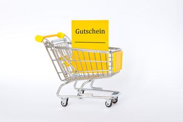 Gutschein Einkaufswagen gelb