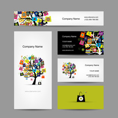 Set of business cards design, shopping tree with bags
