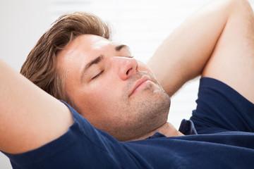 Closeup Of Man Sleeping At Home