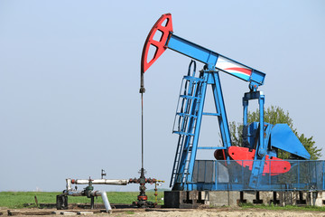 oilfield with oil pump jack