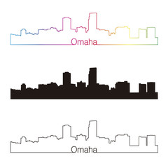 Omaha skyline linear style with rainbow