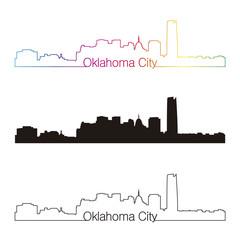 Oklahoma City skyline linear style with rainbow